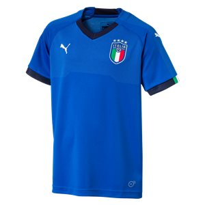Puma Italy World Cup 2018 Home Replica Soccer Jersey, Short Sleeve, Blue, Front View