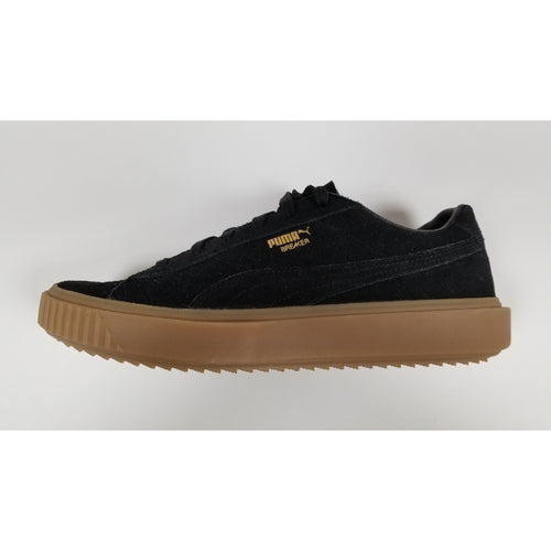 Puma Breaker Suede Shoes , Black, Suede Upper, Rubber Soleplate, Side View