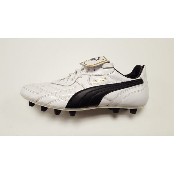 Puma King 1982 White FG Soccer Cleat, K-Leather Upper, 12 Conical Studs, Side View