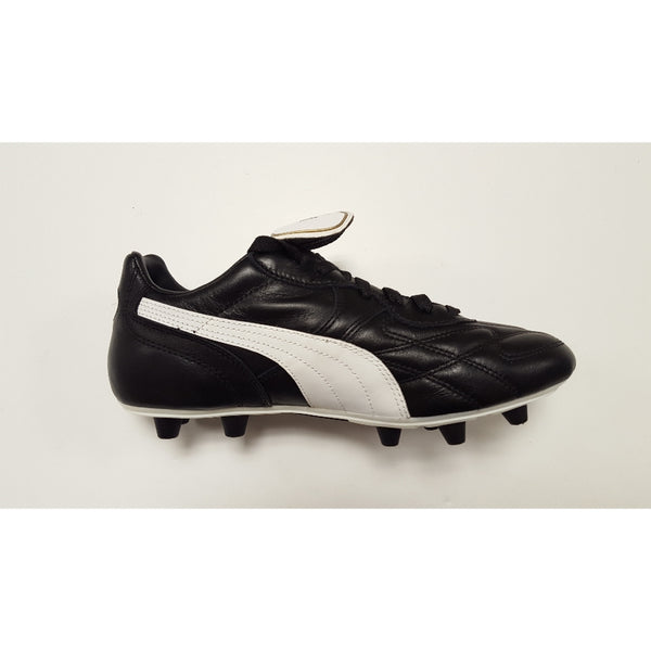 Puma King Top DI Black FG Soccer Cleat, K-Leather Upper, 12 Conical Studs, Side View