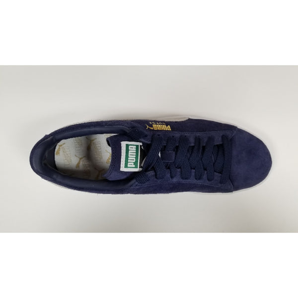 Puma Suede Classic Shoes, Navy, Suede Upper, Rubber Soleplate, Aerial View