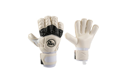 RG Aspro 2020 Goalkeeper Gloves, White & Black, Roll-Finger & Flat Cut, Finger Protection