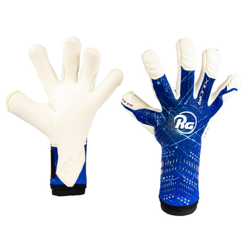 RG Bionix Goalkeeper Gloves, Blue, Hybrid Roll-Finger Negative Cut