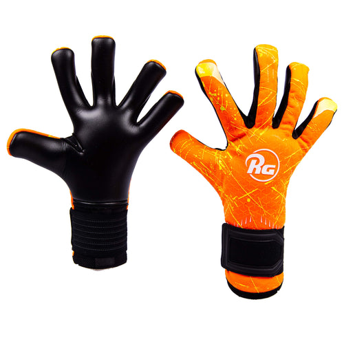 RG Bionix Replica Goalkeeper Gloves, Orange, Hybrid Roll-Finger Negative Cut