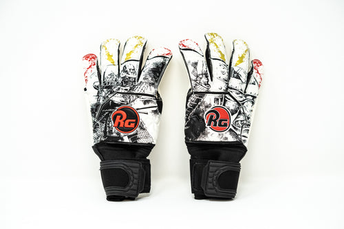 RG Samurai Goalkeeper Gloves, White & Black, Roll-Finger & Flat Cut, Finger Protection