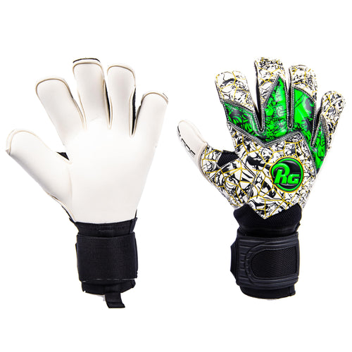 RG Samurai Blade Goalkeeper Gloves, White & Green, Roll-Finger Cut