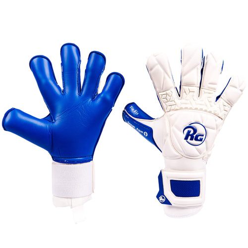 RG Snaga Aqua 2020 Goalkeeper Gloves, White & Blue, Hybrid Roll-Finger