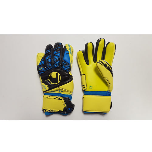 Uhlsport Speed Up Absolutgrip HN Goalkeeper Gloves, Blue & Yellow, Negative Cut