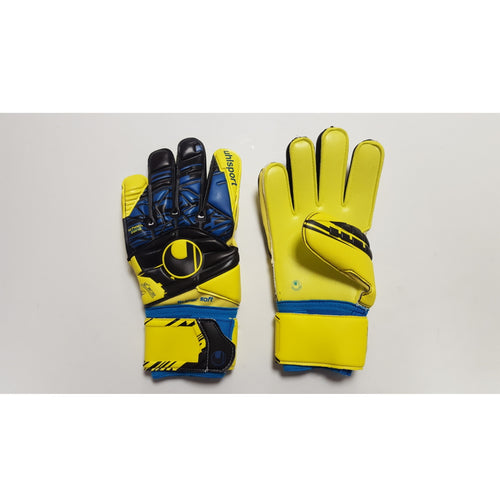Uhlsport Speed Up Supersoft Goalkeeper Gloves, Blue & Yellow, Flat Cut