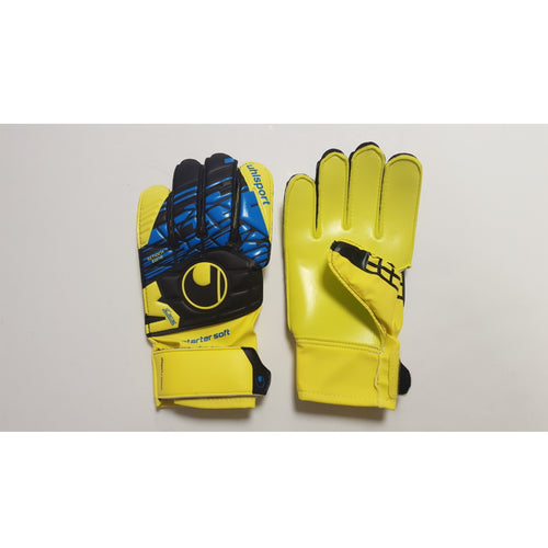 Uhlsport Speed Up Starter Youth Goalkeeper Gloves, Blue & Yellow, Flat Cut