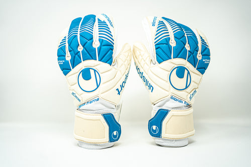 Uhlsport Eliminator Supersoft Bionik Goalkeeper Gloves, White & Blue, Flat Palm, Finger Protection