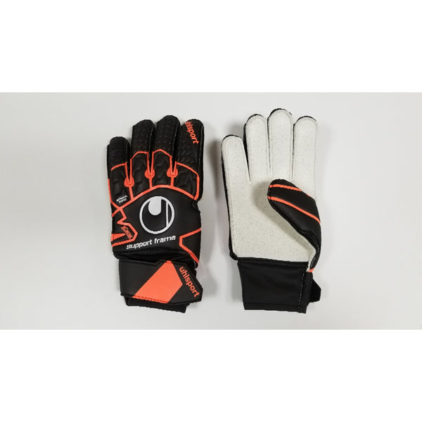 Uhlsport Soft Resist SF Goalkeeper Gloves, Black & Orange, Flat Cut, Finger Protection