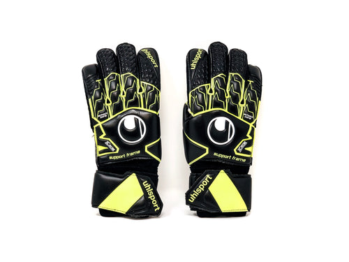 Uhlsport Supersoft SF Goalkeeper Gloves, Black & Fluo, Flat Cut, Finger Protection