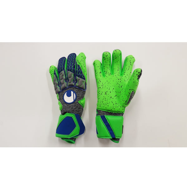 Uhlsport TensionGreen Supergrip Goalkeeper Gloves, Grey & Green, Half-Negative Cut