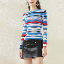 Load image into Gallery viewer, Ladies pullover slim slim round neck striped sweater