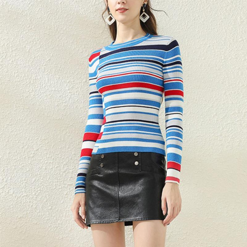 Ladies pullover slim slim round neck striped sweater