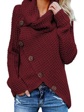 Load image into Gallery viewer, High Collar Pullover Solid Irregular Sweater
