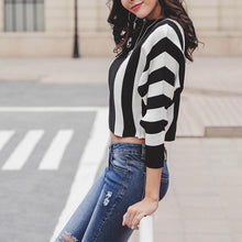 Load image into Gallery viewer, Ladies Bat Sleeves Contrast Color Stripes Casual Sweater