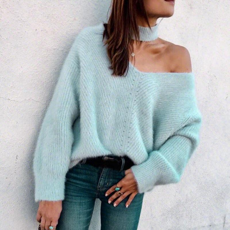 Ladies Off-shoulder Loose Loose Sweater