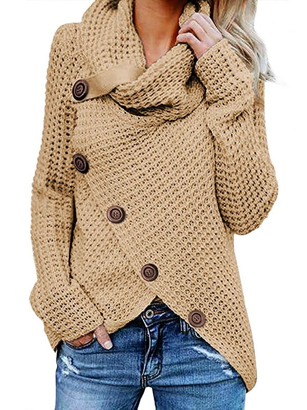 High Collar Pullover Solid Irregular Sweater