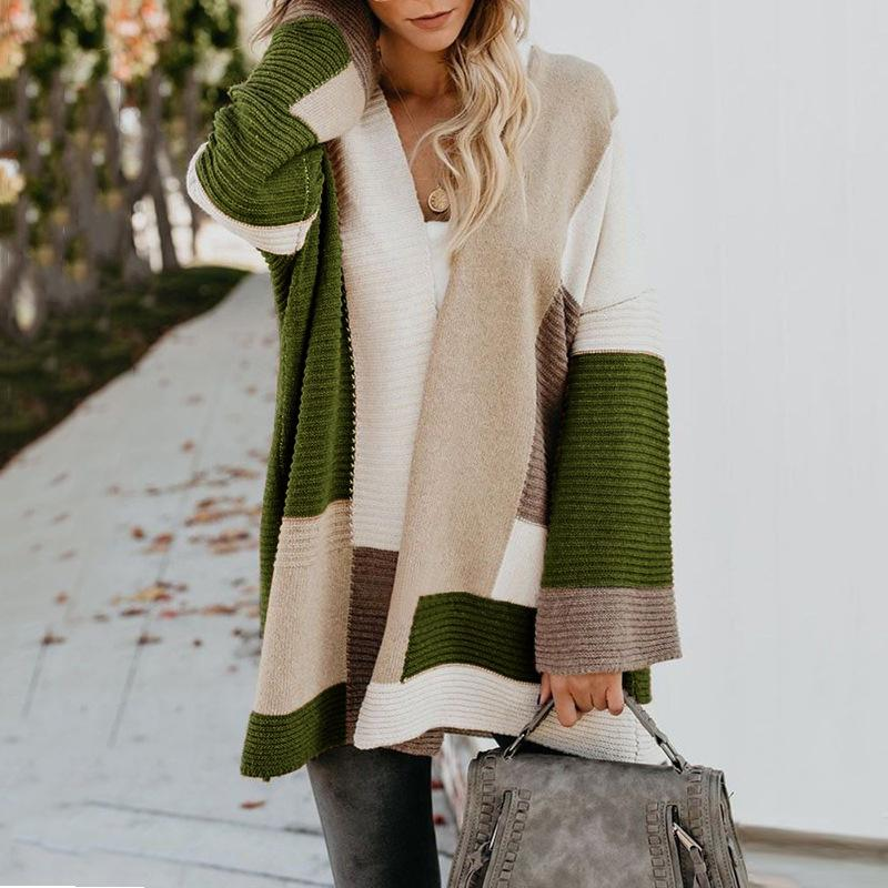 Large Size Loose Geometric Color Block Sweater Cardigan