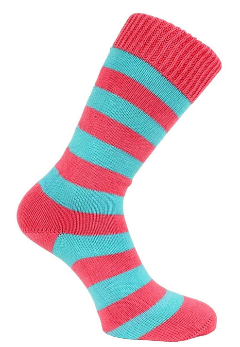 Morrows Dowson Pink And Blue Striped Chunky Knit Socks Seamless