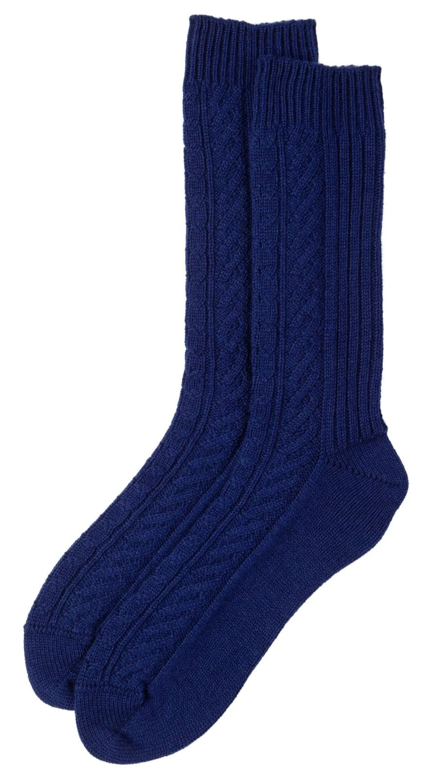 French Navy Cashmere Cable Knit Sock