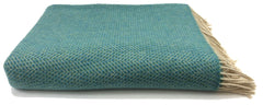 Merino & Cashmere Throw | Green Aqua Herringbone