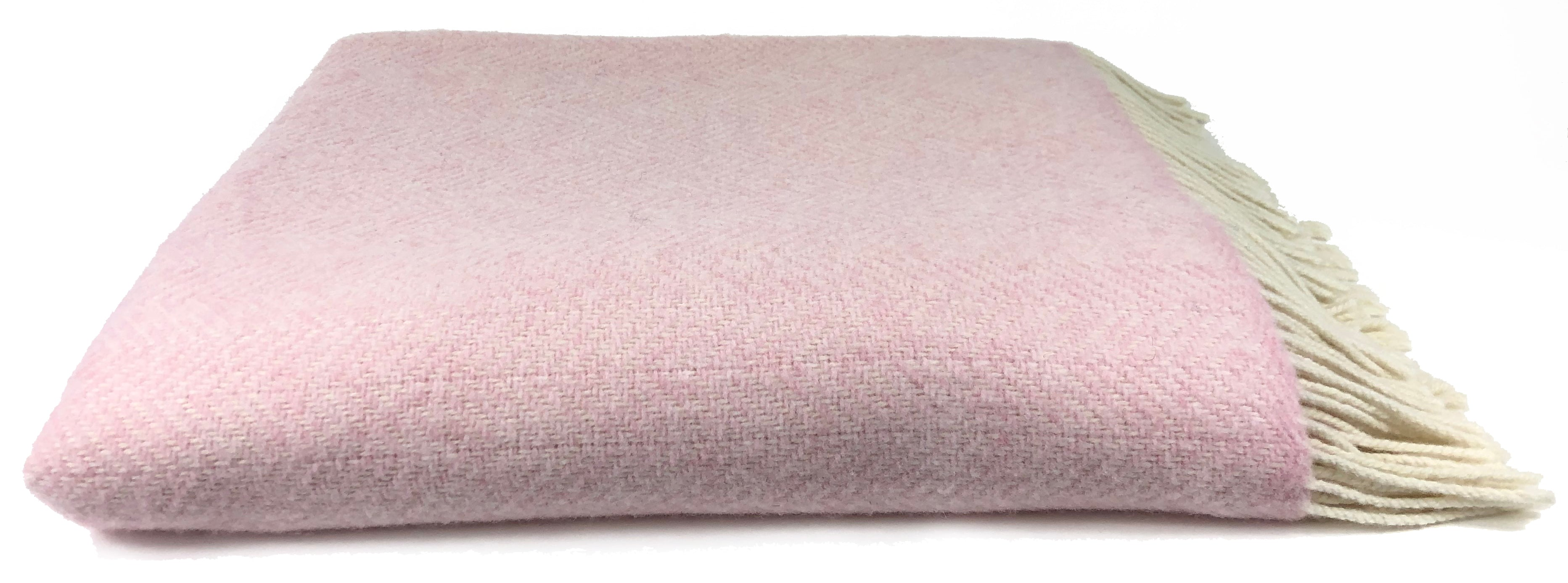 Merino & Cashmere Throw | Baby Pink Herringbone