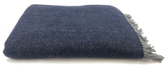 Merino & Cashmere Throw | Dark Navy Herringbone