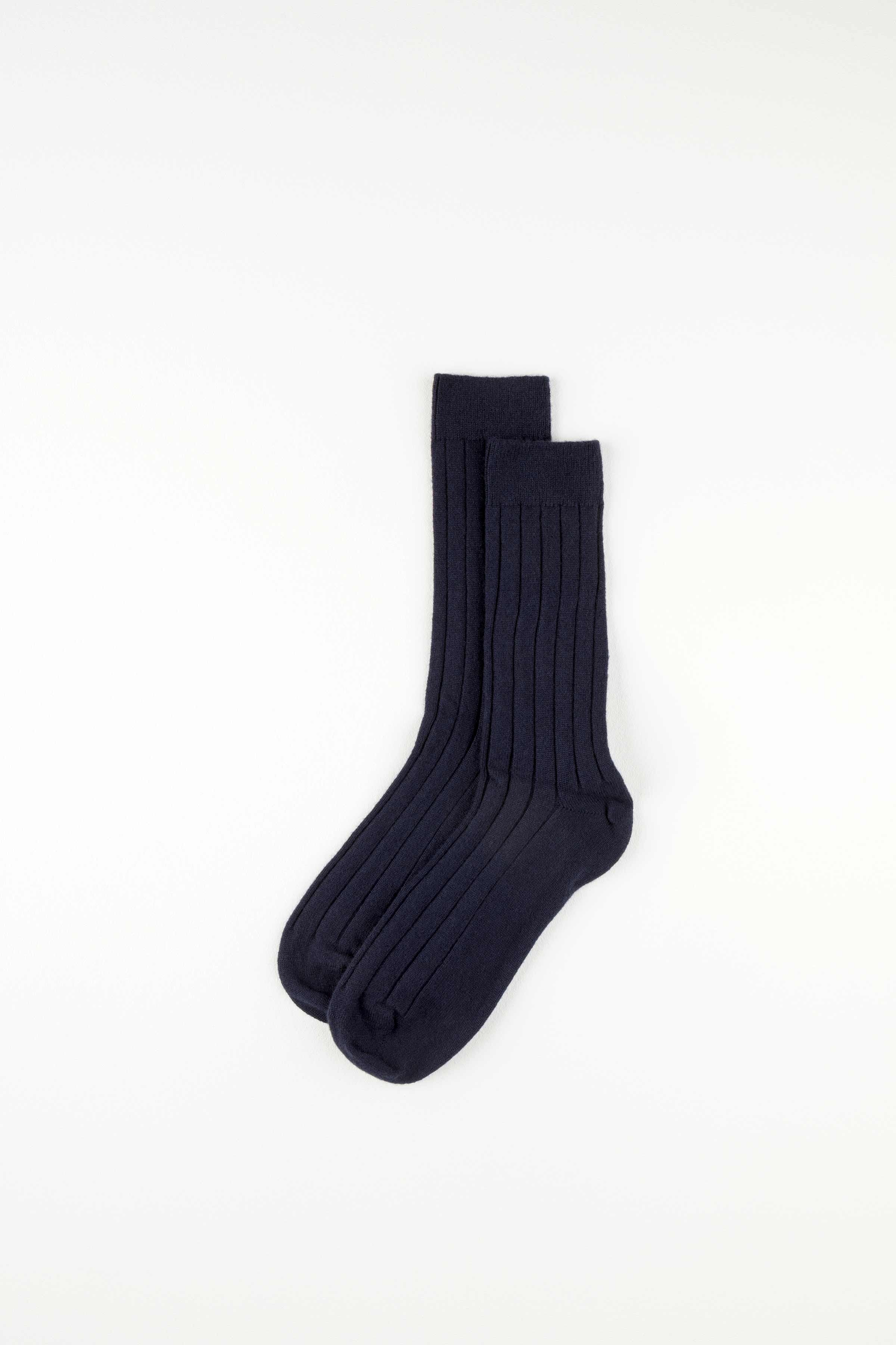 Navy Cashmere Ribbed Sock