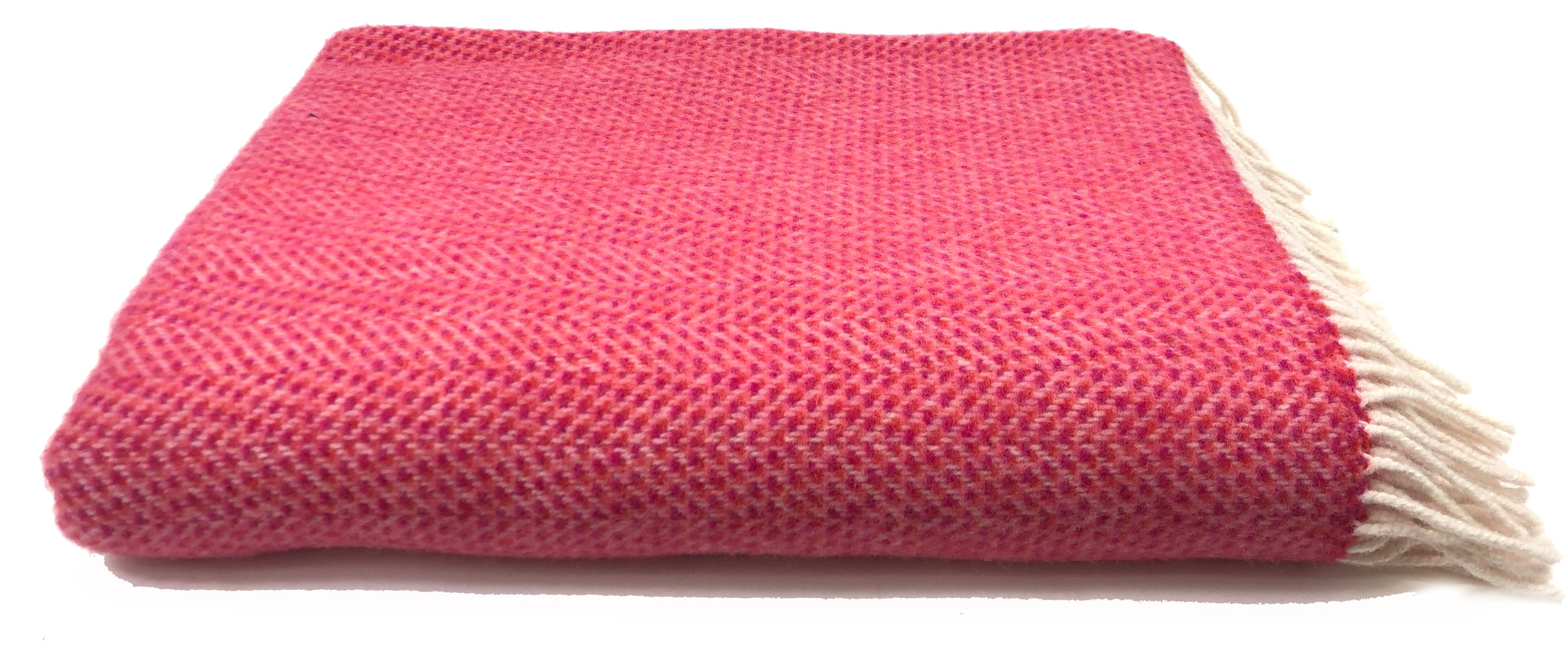 Merino & Cashmere Throw | Raspberry and Cream Herringbone