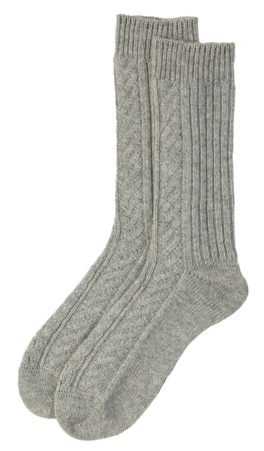 Pale Grey Cashmere Cable Knit Sock