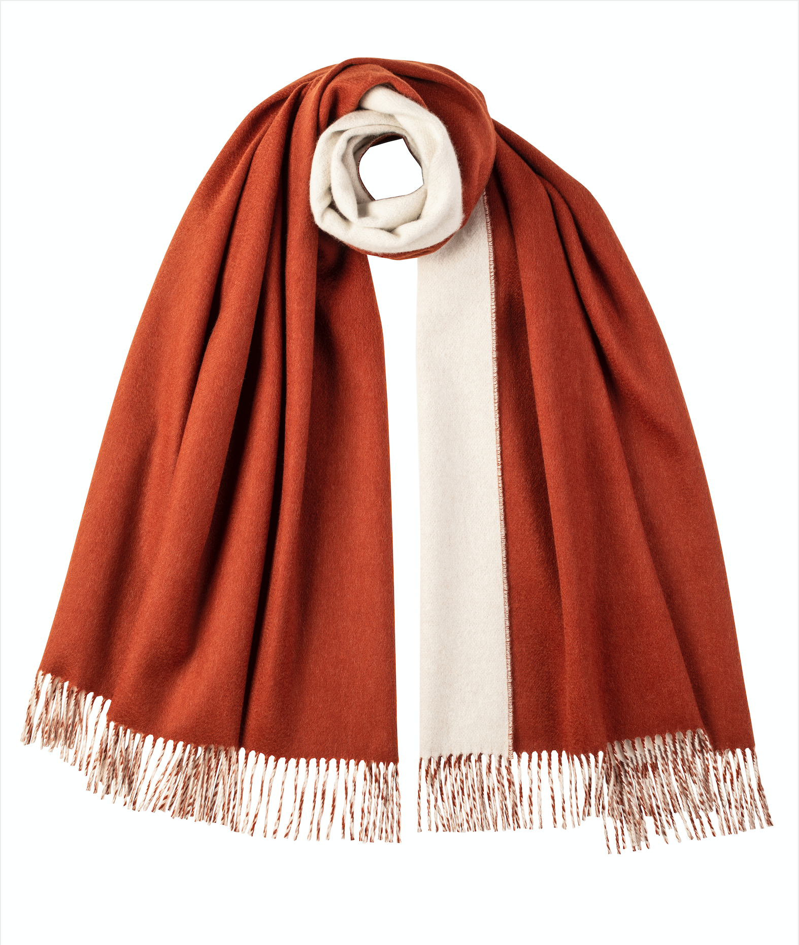 Cashmere Stole | Rust & White Contrast
