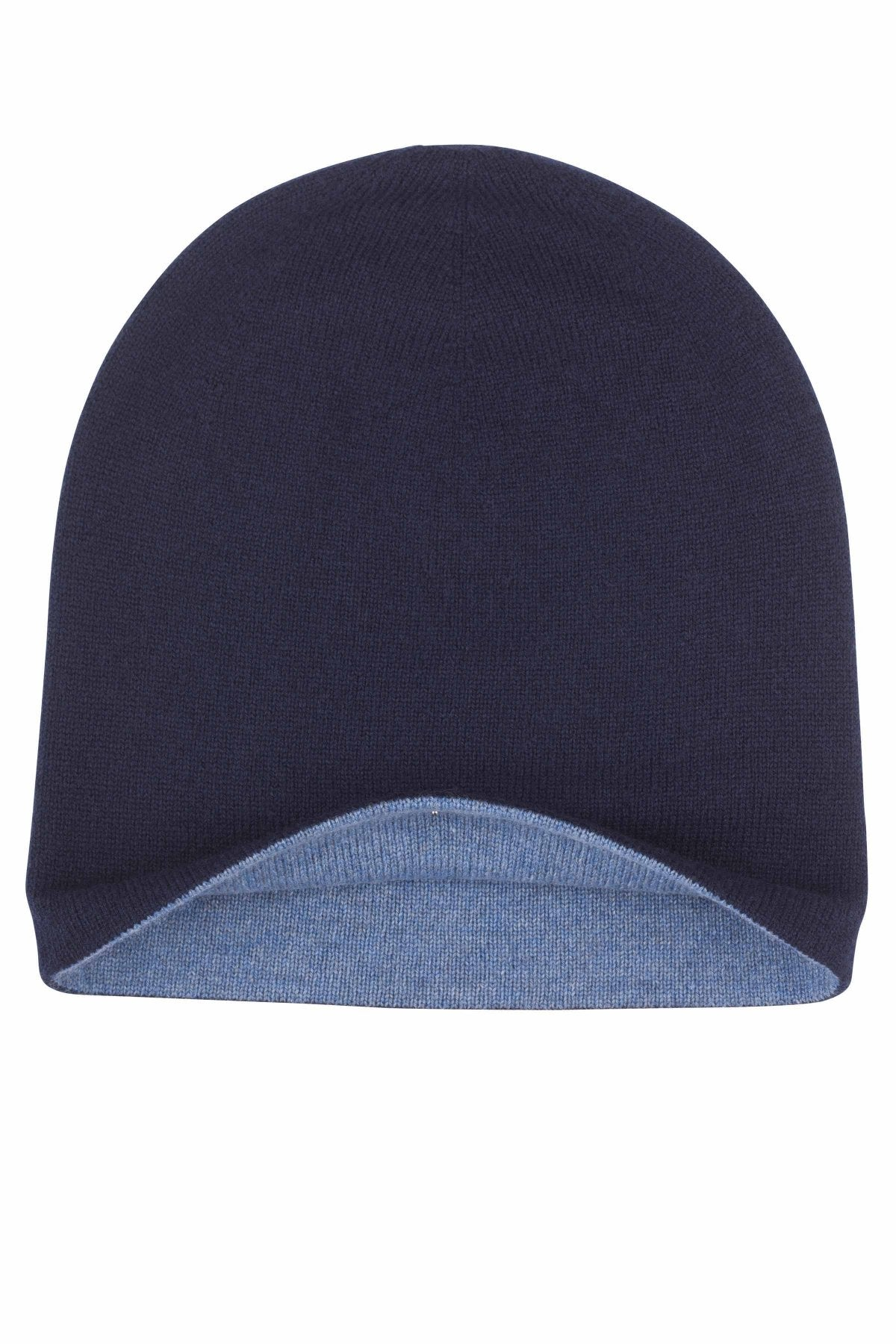 Denim & Navy Reversible Cashmere Hat