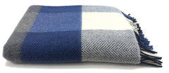 Merino & Cashmere Throw | Blue Check Herringbone