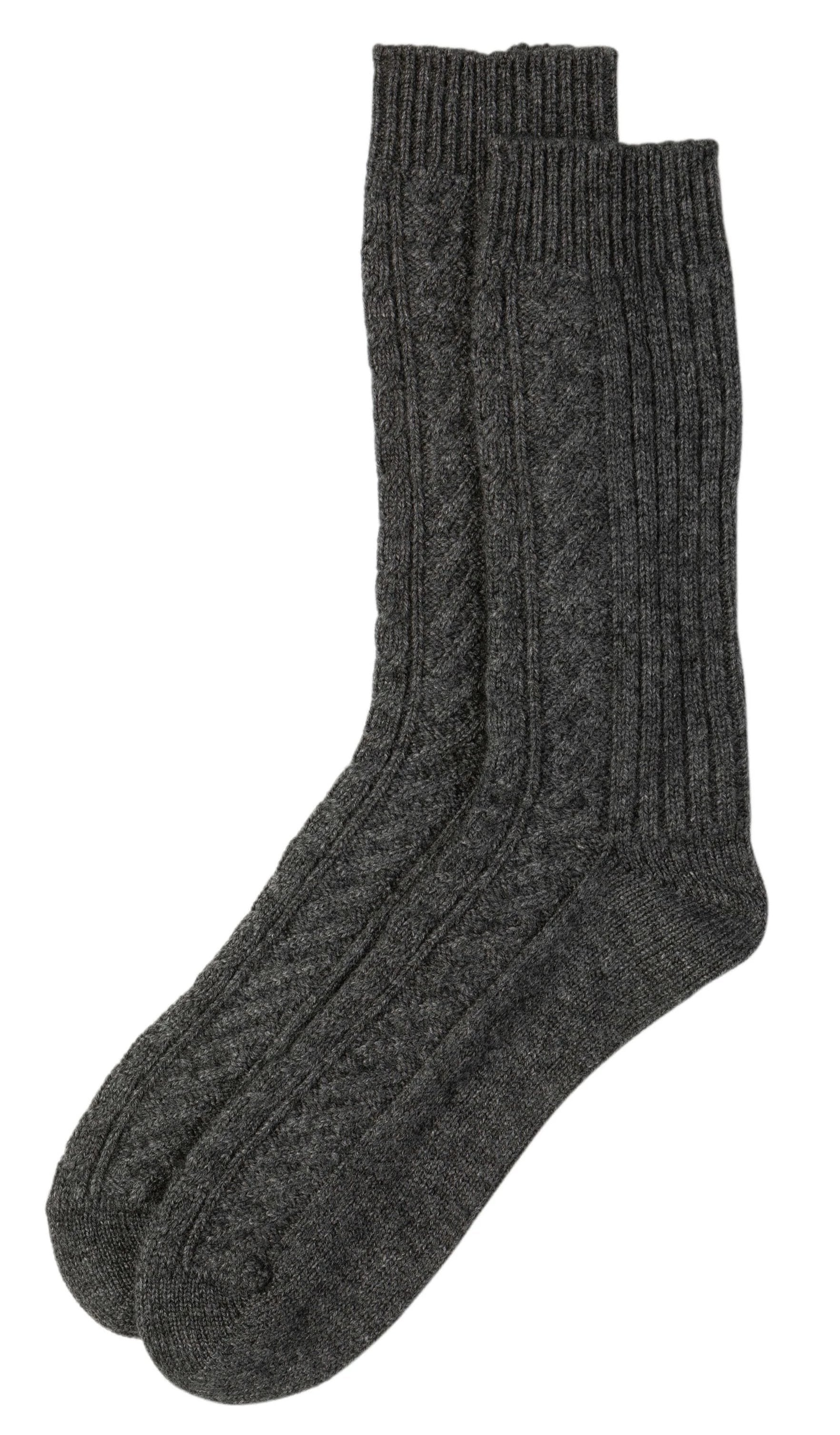 Charcoal Cashmere Cable Knit Sock