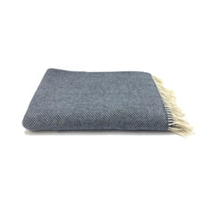 Merino & Cashmere Throw | Denim Cream Herringbone | Large