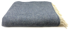 Merino & Cashmere Throw | Denim Cream Herringbone
