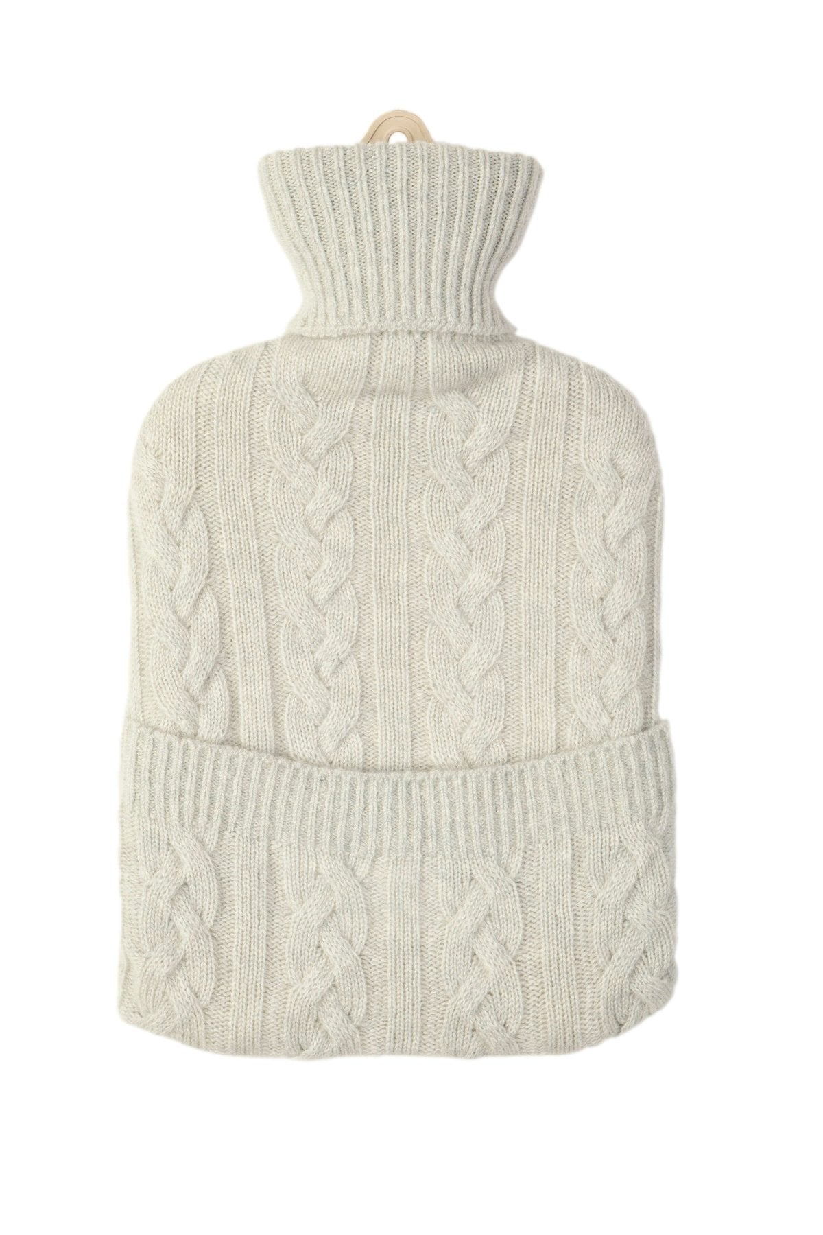 Dove Grey Cable Cashmere Hot Water Bottle