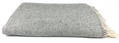 Merino & Cashmere Throw | Pale Grey & Cream Herringbone | Large