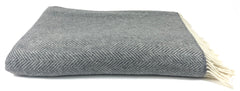 Merino & Cashmere Throw | Grey Herringbone | Large