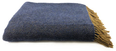 Merino & Cashmere Throw | Mustard Midnight Blue Herringbone