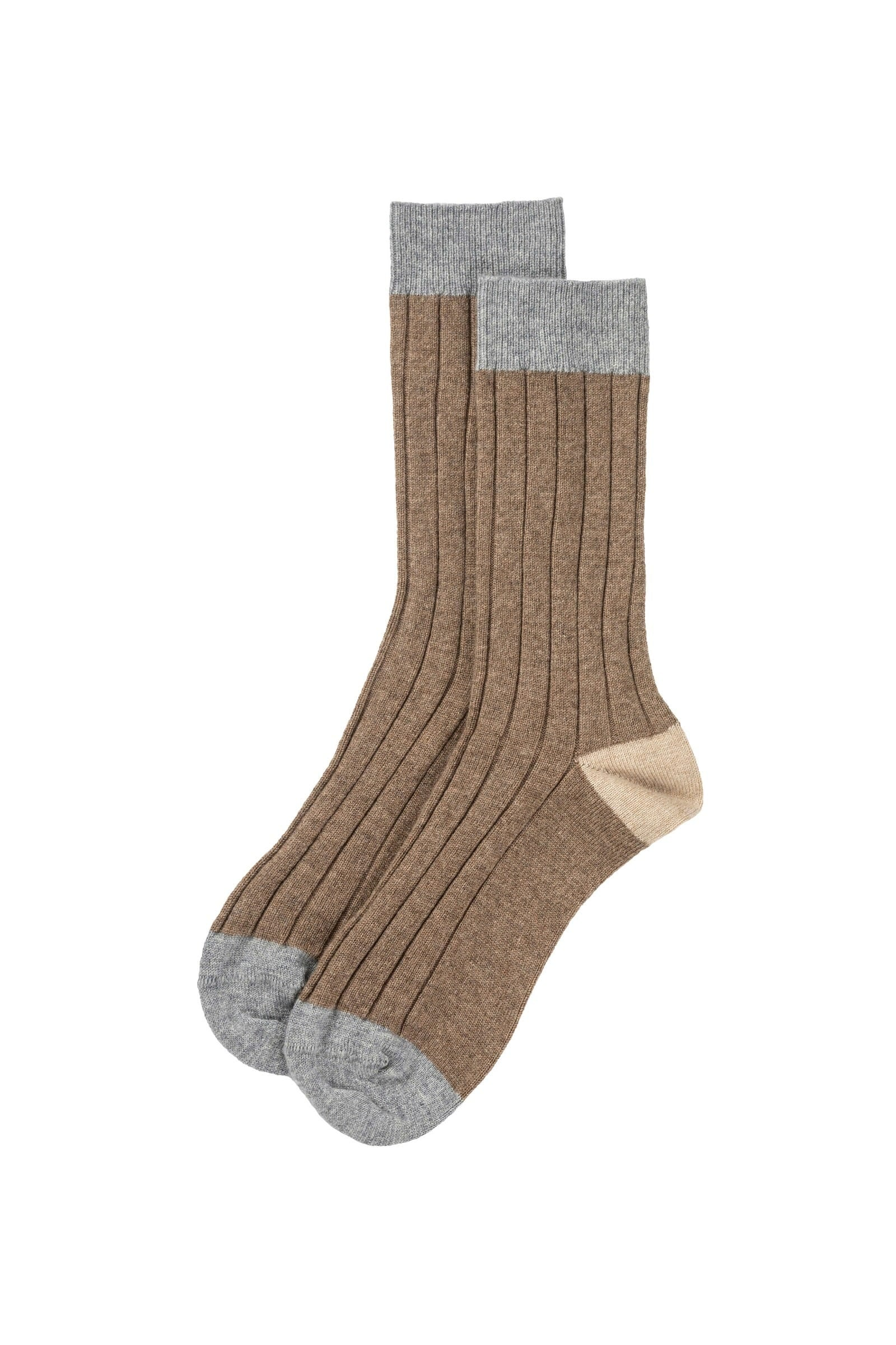 Otter Contrast Cashmere Ribbed Sock