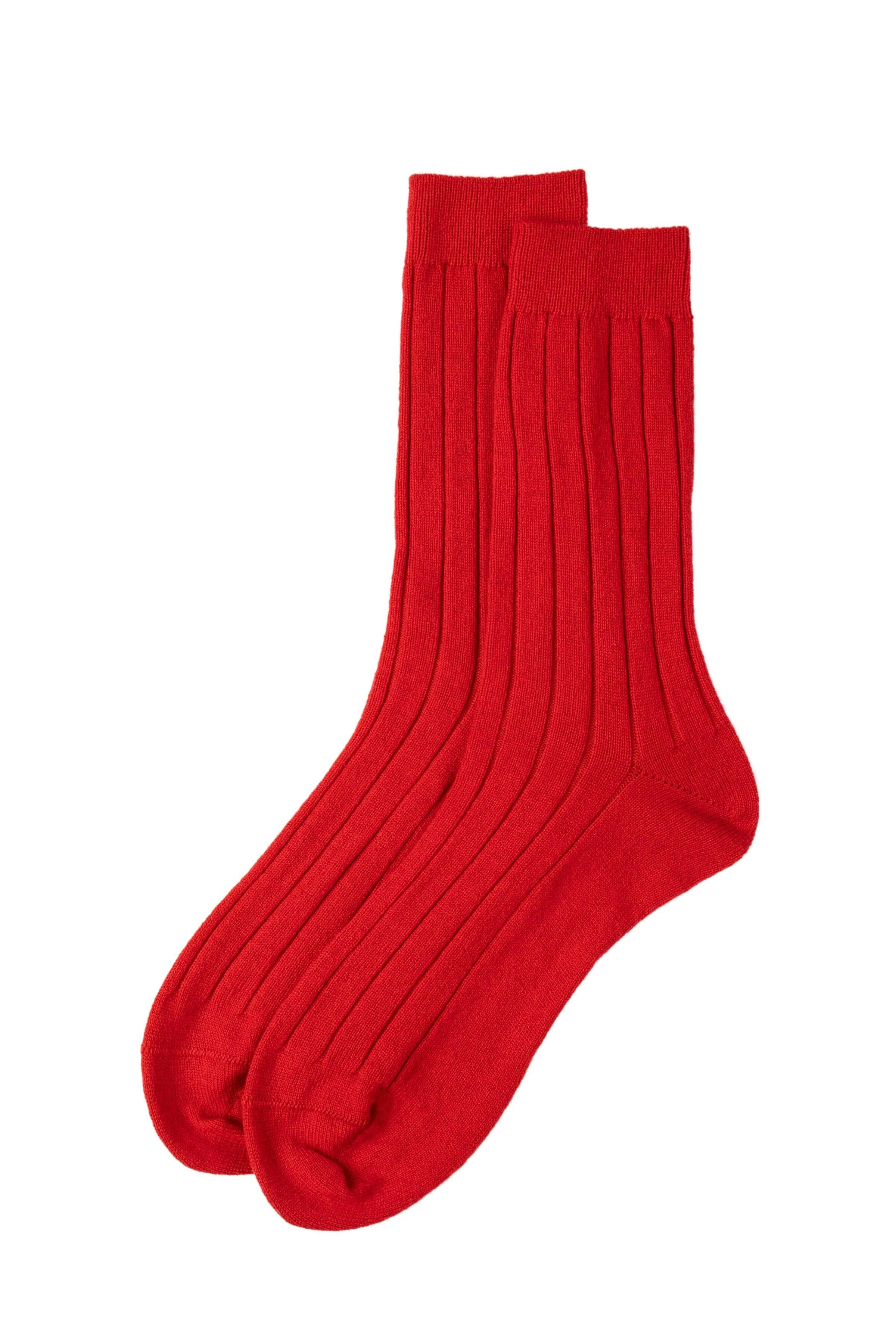 Red Cashmere Ribbed Sock