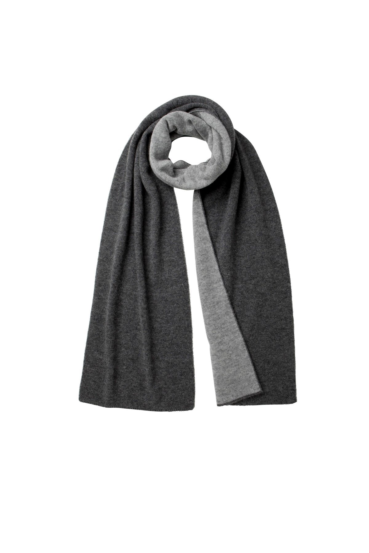 Charcoal & Dove Reversible Cashmere Scarf