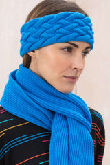 Cable Cashmere Headband | China Blue