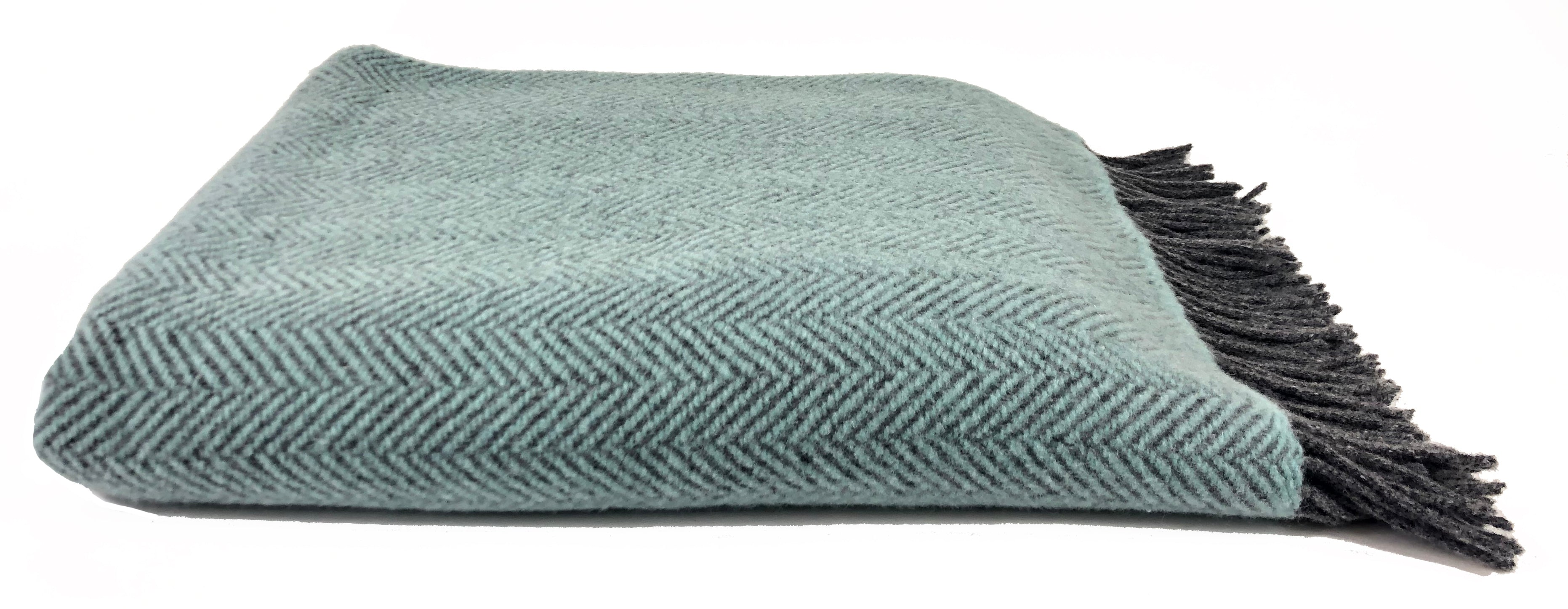 Merino & Cashmere Throw | Duck Egg Herringbone