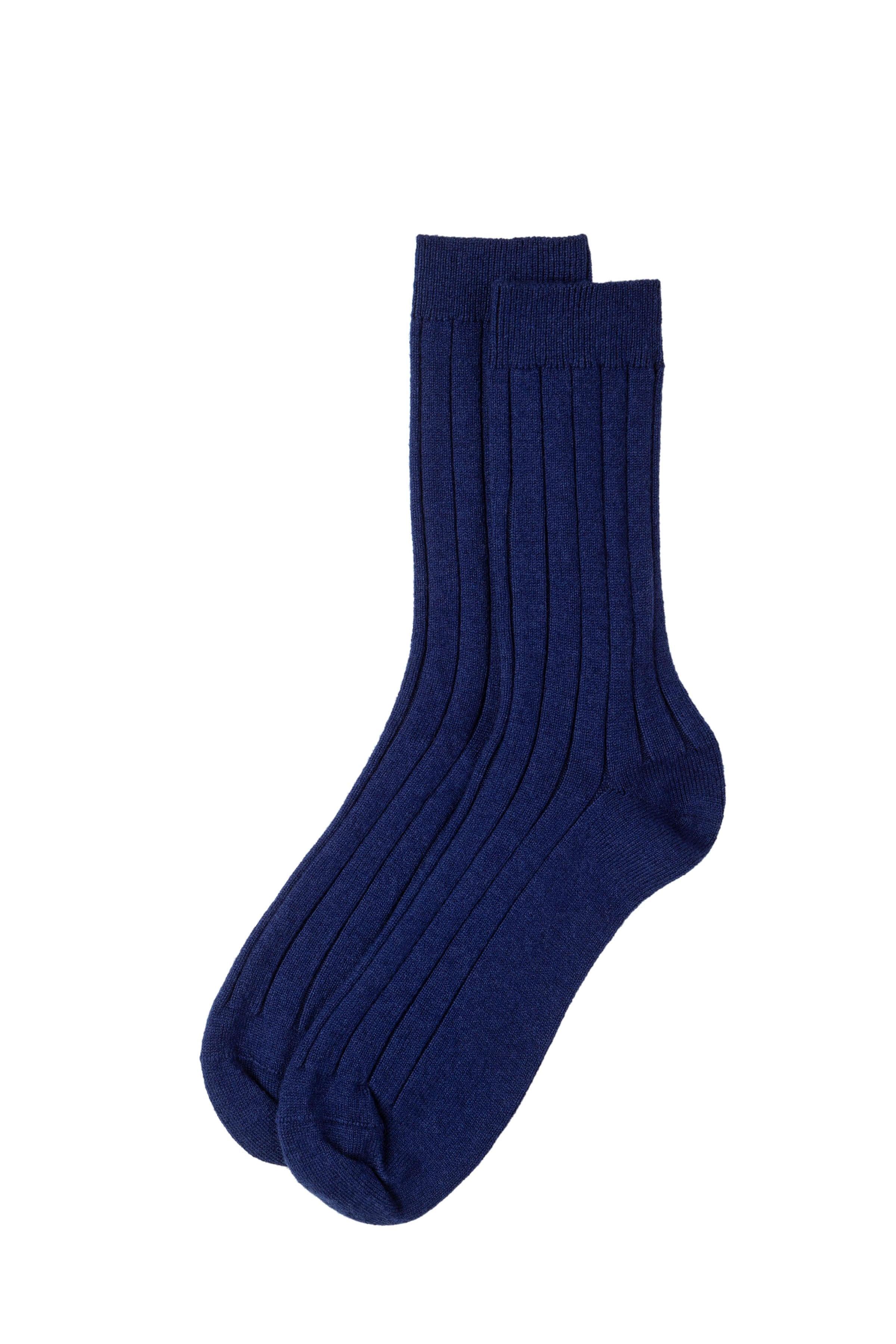 Blue Cashmere Ribbed Sock