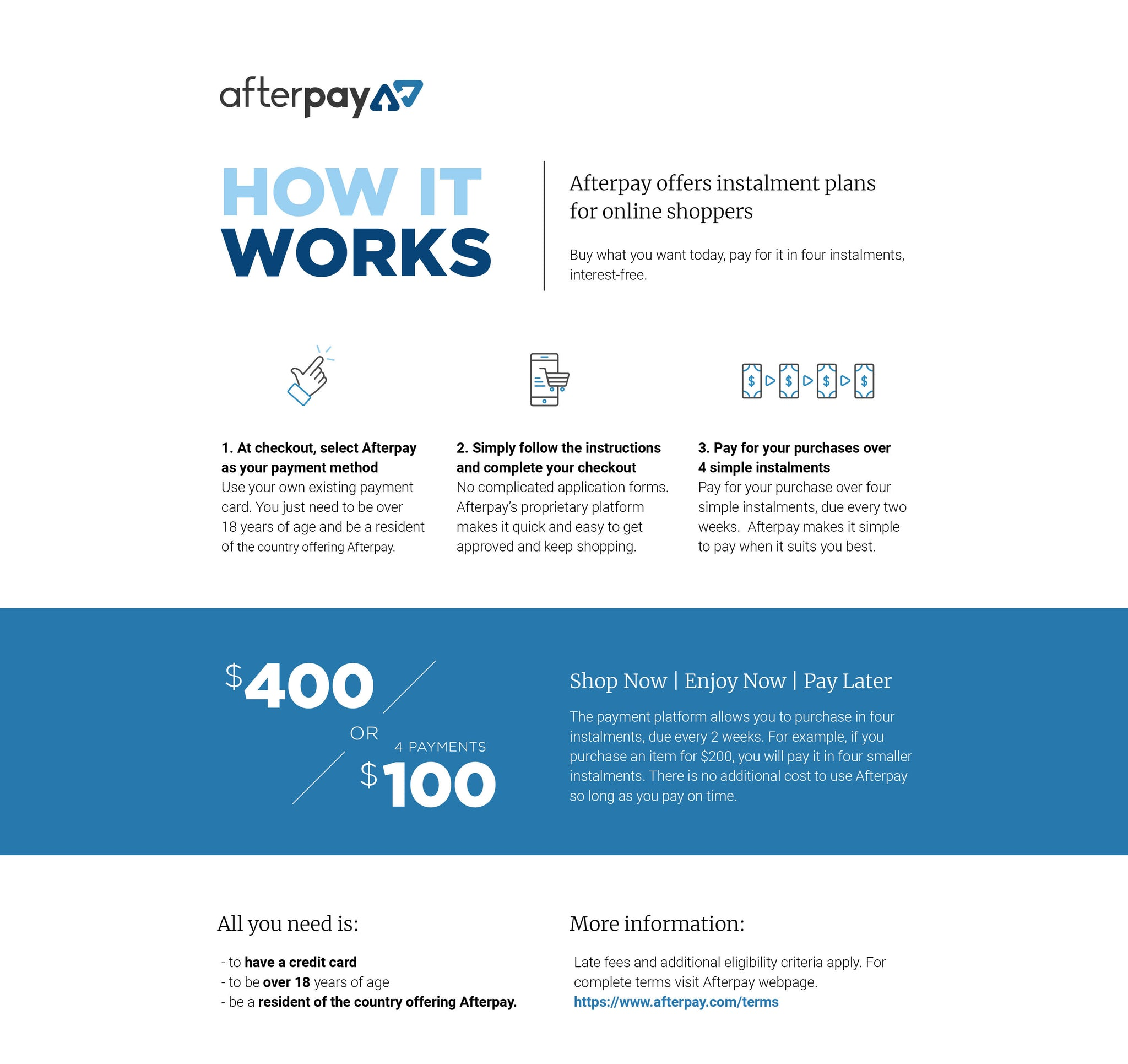 Afterpay available on Ziggy Belle - How It Works